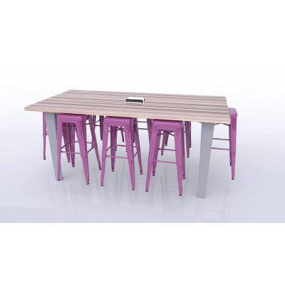 CEF ID36-6 Idea Island Table 36 inch Height with Six Stools and Electrical Station