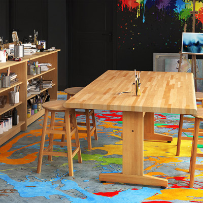 """42x72"""" Art Table. Solid Hardwood Frame and Pedestals with Solid Hardwood Top"""