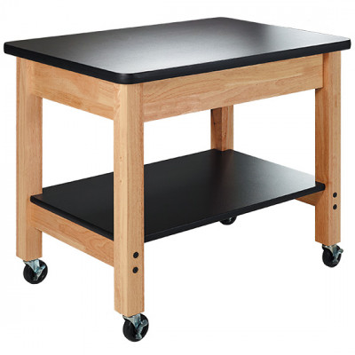 """24x36"""" Hardwood Mobile Science Cart with Shelf. 31"""" Height"""