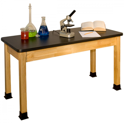 Solid Hardwood Science Table with Black HPL Top