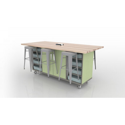 ED Double Storage Table with Butcher Block Top and High Pressure Laminate Base 42 inch Height